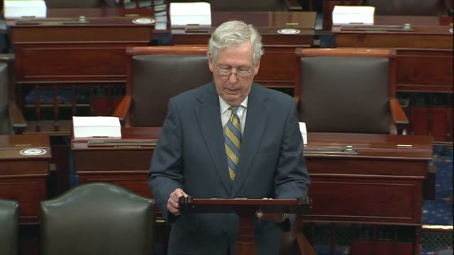 senate majority leader mitch mcconnell of kentucky says in a floor speech on a forthcoming fourth coronavirus relief bill that the disease had... - partisan politics stock videos & royalty-free footage