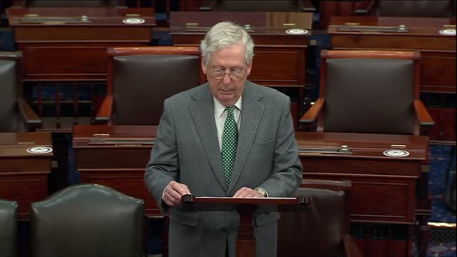 senate majority leader mitch mcconnell of kentucky says in floor remarks on coronavirus relief negotiations that university presidents it may clear... - partisan politics stock videos & royalty-free footage