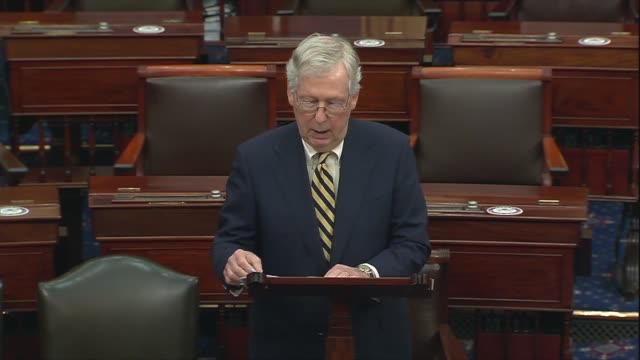 senate majority leader mitch mcconnell of kentucky says in floor remarks that peaceful protests had been hijacked by violent rioters who felt the... - links platz stock-videos und b-roll-filmmaterial
