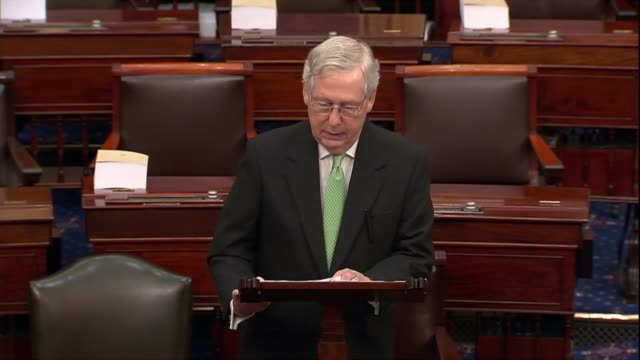 senate majority leader mitch mcconnell of kentucky says in response to a public request by democratic leader chuck schumer for witnesses and... - partisan politics stock videos & royalty-free footage
