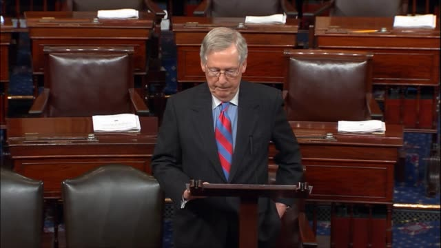senate majority leader mitch mcconnell of kentucky says members of congress were pleased with the unifying message of president donald trump to... - joint session of congress stock videos and b-roll footage