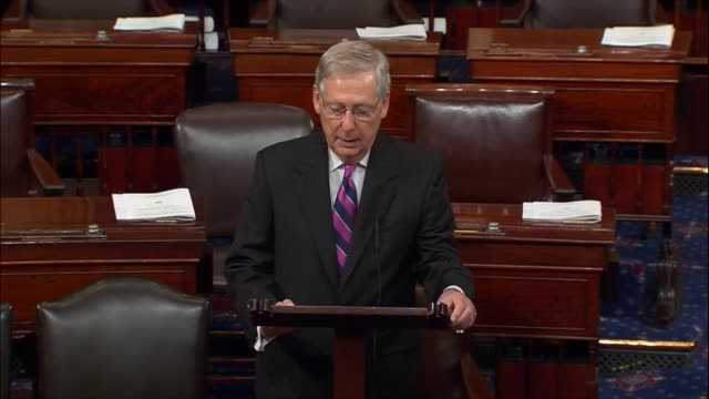 senate majority leader mitch mcconnell of kentucky says of a bill reached to fund government through fiscal 2017 that it updates physical... - fanghiglia video stock e b–roll