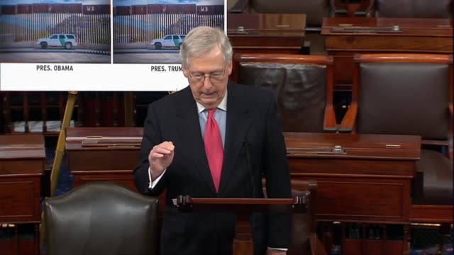 senate majority leader mitch mcconnell of kentucky says on day 20 of a partial government shutdown that there had been big success in border sectors... - congress stock videos & royalty-free footage