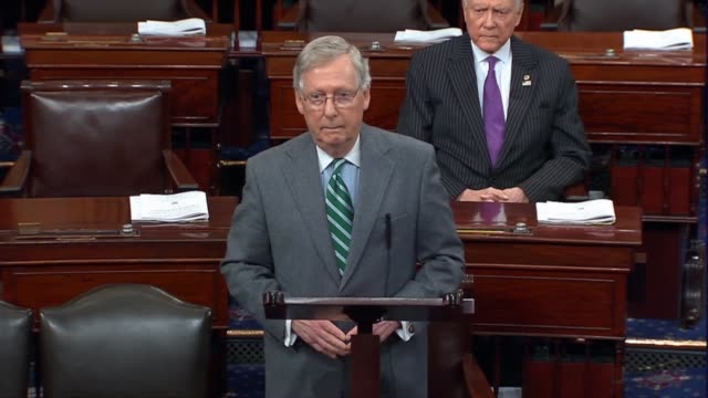 senate majority leader mitch mcconnell of kentucky says senator harry reid noted the senate was not a rubber stamp nor require supreme court nominees... - senator stock videos & royalty-free footage