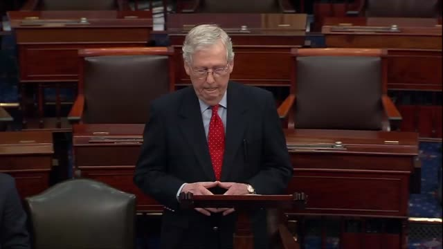 senate majority leader mitch mcconnell of kentucky says that a pro forma session during a recess amid their coronavirus outbreak inside the united... - payslip stock videos & royalty-free footage
