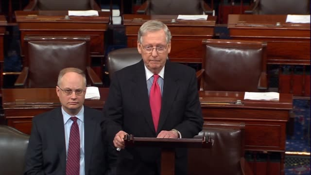 senate majority leader mitch mcconnell of kentucky says that senator chuck schumer encouraged using the filibuster to block nominees back in 2003... - samuel alito stock videos & royalty-free footage