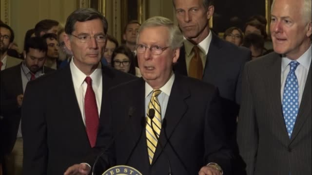 senate majority leader mitch mcconnell of kentucky speaks with reporters an hour after a dramatic vote to proceed to republicanled health care reform... - senate stock videos & royalty-free footage