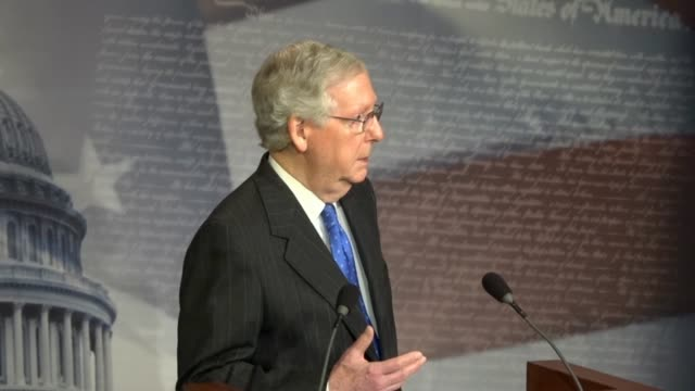 senate majority leader mitch mcconnell of kentucky tells reporters at a press conference the morning after the 2018 midterm election that deploying... - latitude stock videos & royalty-free footage