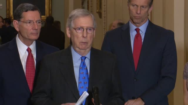 Senate Majority Leader Mitch McConnell of Kentucky tells reporters at a weekly briefing during a lame duck session that different things were being...