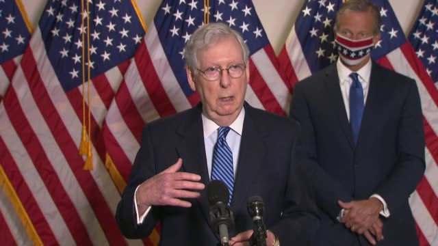 senate majority leader mitch mcconnell of kentucky tells reporters at a weekly press conference that clearly congress would not spend three trillion... - disegno di legge video stock e b–roll