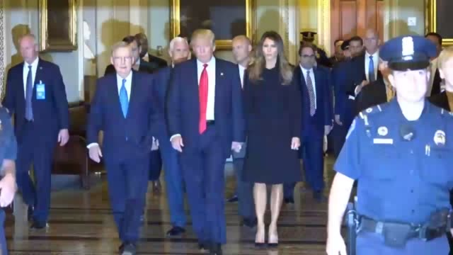 vídeos y material grabado en eventos de stock de senate majority leader mitch mcconnell of kentucky walks with presidentelect donald trump wife melania running mate mike pence and others pass media... - senador
