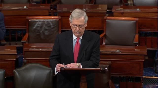 Senate Majority Leader Mitch McConnell of Kentucky welcomes new senators in the first hour of the 116th Congress new links in a historic chain and...