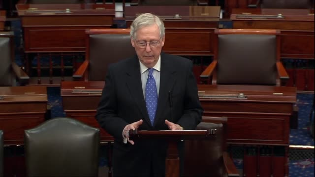 senate majority leader mitch mcconnell says in a floor speech the morning after the house adopted impeachment articles against president donald trump... - jump ball stock videos and b-roll footage