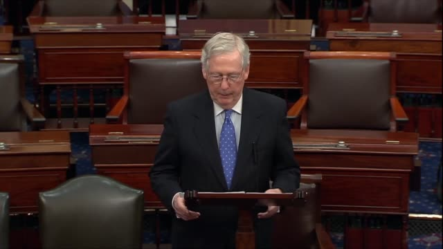 senate majority leader mitch mcconnell says in a floor speech the morning after the house adopted impeachment articles against president donald trump... - occurrence stock videos & royalty-free footage