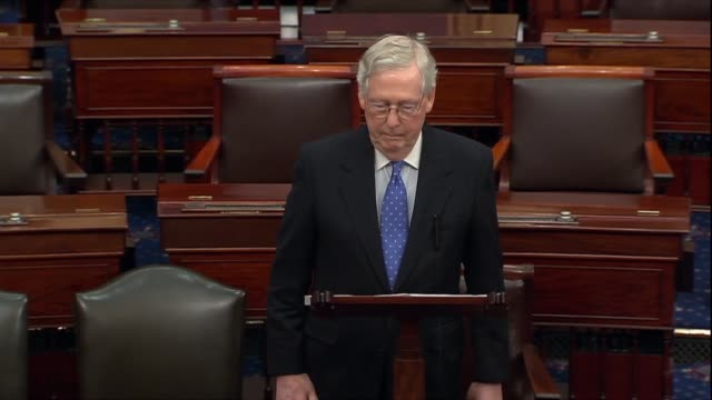 senate majority leader mitch mcconnell says in a floor speech the morning after the house adopted impeachment articles against president donald trump... - partisan politics stock videos & royalty-free footage