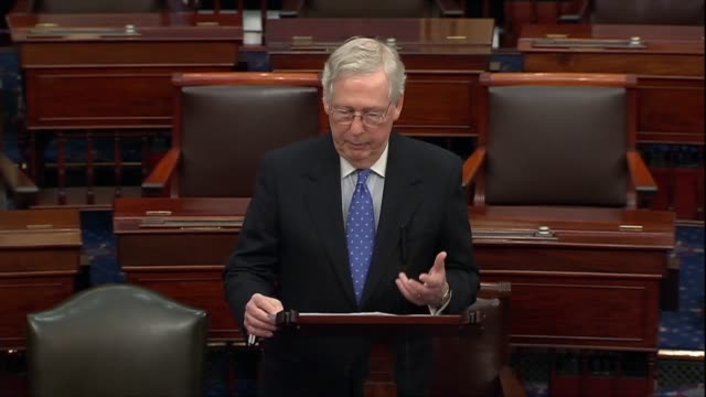 senate majority leader mitch mcconnell says in a floor speech the morning after the house adopted impeachment articles against president donald trump... - resignation of richard nixon stock videos & royalty-free footage