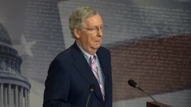 senate majority leader mitch mcconnell says in answer to a reporter question at a news conference after brett kavanaugh was confirmed to the supreme... - an answer film title stock videos & royalty-free footage