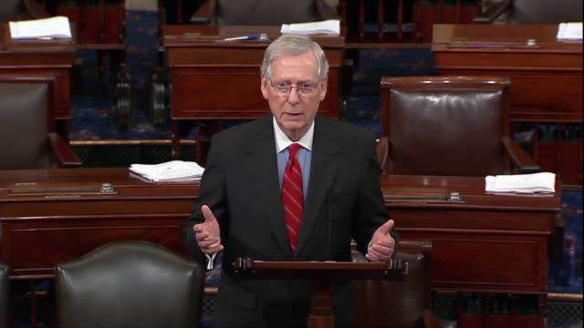 senate majority leader mitch mcconnell senate majority leader mitch mcconnell says five days after supreme court justice brett kavanaugh was... - columnist stock videos & royalty-free footage