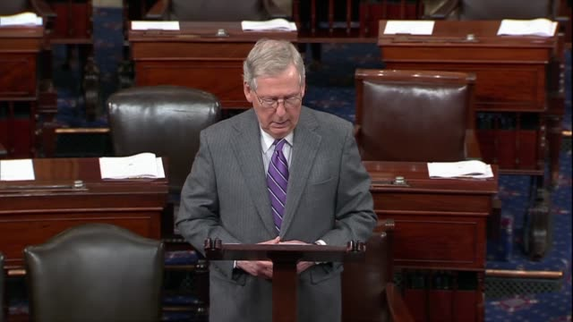 Senate Majority Leader Mitch McConnell shares the shock and sorrow of the Senate a day after a mass shooting at Marjory Stoneman High School in...