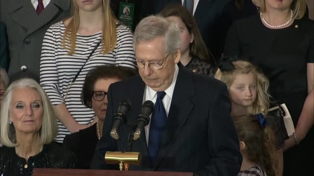 senate majority leader mitch mcconnell speaks at a memorial service for the late reverend billy graham quoting his service of god as why he was... - humility stock videos and b-roll footage