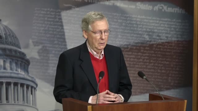 senate majority leader mitch mcconnell takes questions from reporters, answering that one thing that could be said about 2017 is it was pretty... - an answer film title stock videos & royalty-free footage
