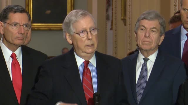senate majority leader mitch mcconnell tells reporters that senate leaders had not begun discussing process for an impeachment trial if the house ask... - floor length stock videos & royalty-free footage