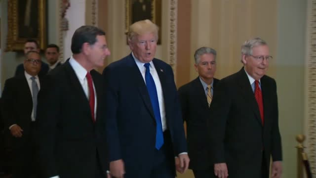 Senate Majority Leader Mitch McConnell walks with President Donald Trump to a weekly gathering of the Senate Republican Conference prior to a meeting...