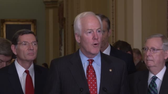 senate majority whip john cornyn of texas tells reporters during a press briefing that he would like to hear president obama at his last state of the... - durability stock videos & royalty-free footage