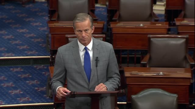 senate majority whip john thune of south dakota says it would be very disappointing if democrats chose to play politics and put their agenda over the... - south dakota stock-videos und b-roll-filmmaterial