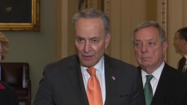 Senate Minority Leader Charles Schumer of New York tells reporters at a weekly briefing during a lame duck session whether a shortterm continuing...