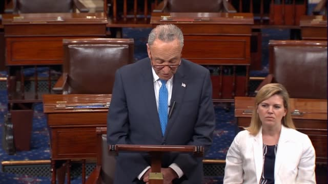 senate minority leader charles schumer says in floor remarks that in a letter he and senator bob menendez wrote to president trump outlining five key... - uran stock-videos und b-roll-filmmaterial