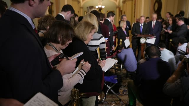 Senate Minority Leader Charles Schumer talks to reporters following the Democratic Senate weekly policy luncheon with Sen Patty Murray Sen Sherrod...