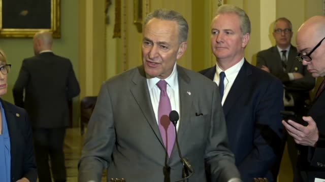 senate minority leader chuck schumer answers a reporter question at a weekly briefing calling spending rescissions request from the trump... - shock tactics stock videos and b-roll footage