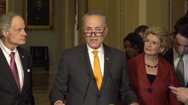 Senate Minority Leader Chuck Schumer at a weekly press briefing answers questions from reporters on consumption taxes the Gorsuch Supreme Court...