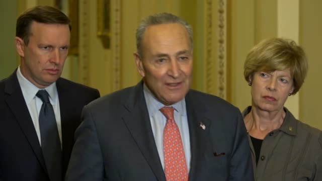 Senate Minority Leader Chuck Schumer of New York answers a reporter question at a weekly briefing about the likely death of journalist Jamal...