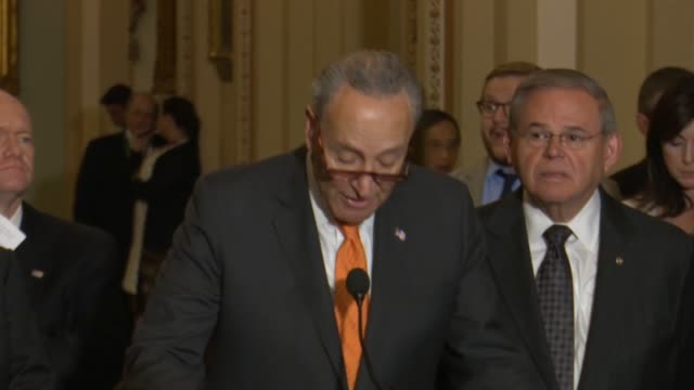 senate minority leader chuck schumer of new york begins a weekly press briefing to say there was lots of tension over north korea hours after a deal... - sabotage stock videos & royalty-free footage