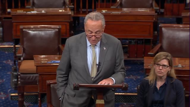 Senate Minority Leader Chuck Schumer of New York delivers opening remarks on the floor after an August summer break to say that a busy work period...