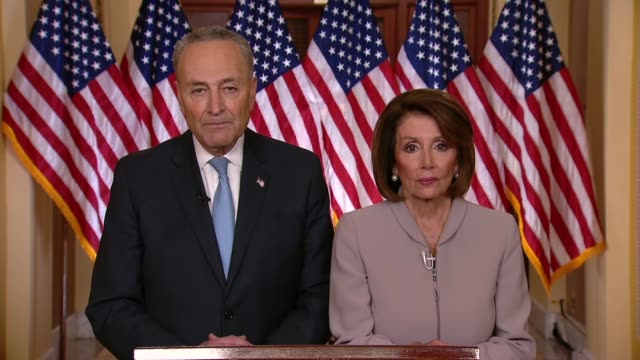senate minority leader chuck schumer of new york follows a televised address of president donald trump on the 18th of a partial government shutdown... - payslip stock videos & royalty-free footage