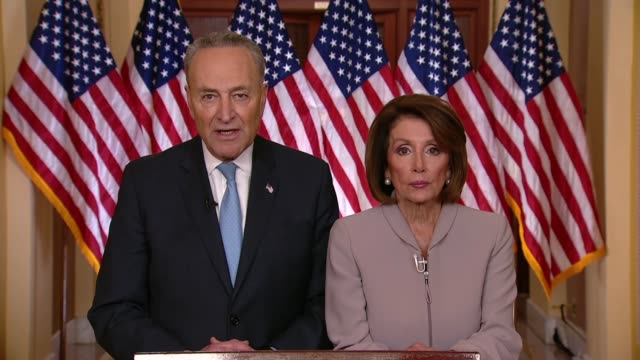 Senate Minority Leader Chuck Schumer of New York follows a televised address of President Donald Trump to proclaim that having failed to convince...