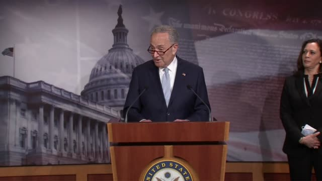senate minority leader chuck schumer of new york is asked by a reporter a press conference after a failed procedural vote on a republican police... - {{ collectponotification.cta }} stock videos & royalty-free footage