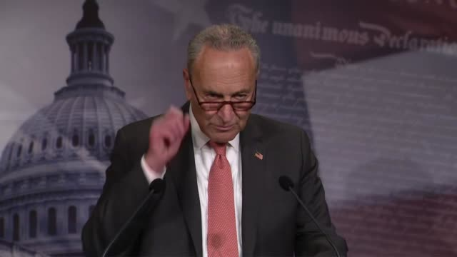 senate minority leader chuck schumer of new york is asked by a reporter at a weekly press conference why he believed president donald trump should... - laundry detergent stock videos & royalty-free footage