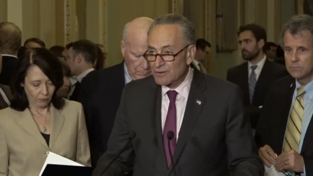 Senate Minority Leader Chuck Schumer of New York opens a weekly press briefing outside the Senate chamber telling reporters that more and more...