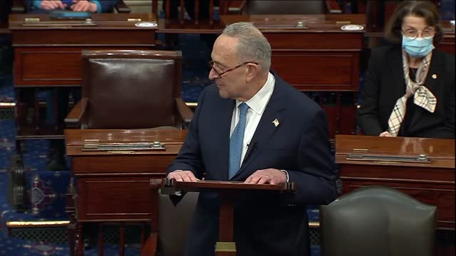 senate minority leader chuck schumer of new york says after senate retreat to debate objection to electoral college ballot count of arizona that all... - 副代表点の映像素材/bロール