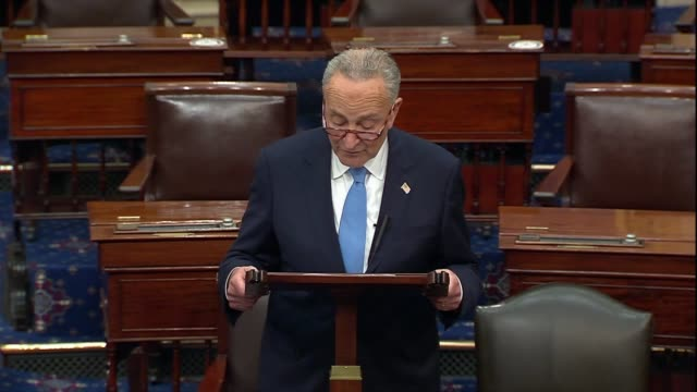 senate minority leader chuck schumer of new york says days after a new york times report about president donald trump's tax returns that documents... - vermeidung stock-videos und b-roll-filmmaterial
