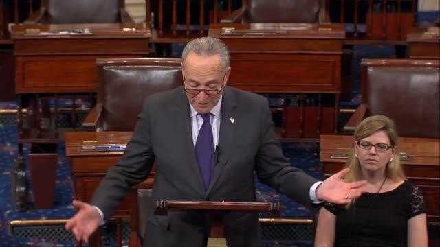 vídeos de stock, filmes e b-roll de senate minority leader chuck schumer of new york says republican plans for tax reform are not going to fly with the american people. as had occurred... - new age