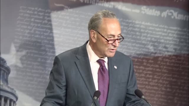 senate minority leader chuck schumer of new york speaks with reporters in the senate studio hours after its defeat on the floor of the health care... - social history stock videos & royalty-free footage