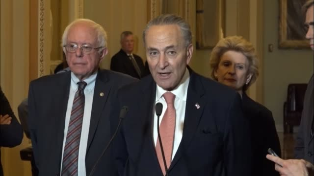 Senate Minority Leader Chuck Schumer of New York takes questions from the press at a weekly briefing Asked whether he would still like former...