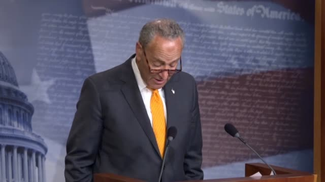 Senate Minority Leader Chuck Schumer of New York tells reporters hours after a meeting and news conference in Helsinki between Donald Trump and...