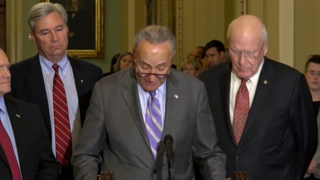 senate minority leader chuck schumer of new york tells reporters at a weekly briefing that senator dianne feinstein wanted to jointly request the... - brett kavanaugh stock videos and b-roll footage