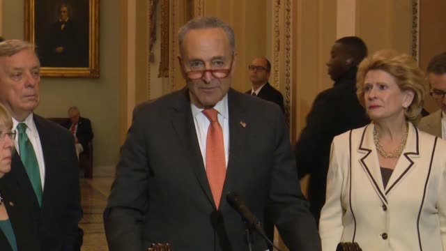senate minority leader chuck schumer of new york tells reporters at a weekly press conference that the key issue for an impeachment trial against... - democratic party usa stock videos & royalty-free footage